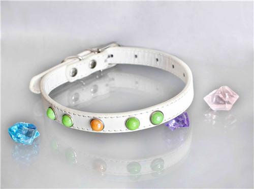 white kawaii PU Dog Collar