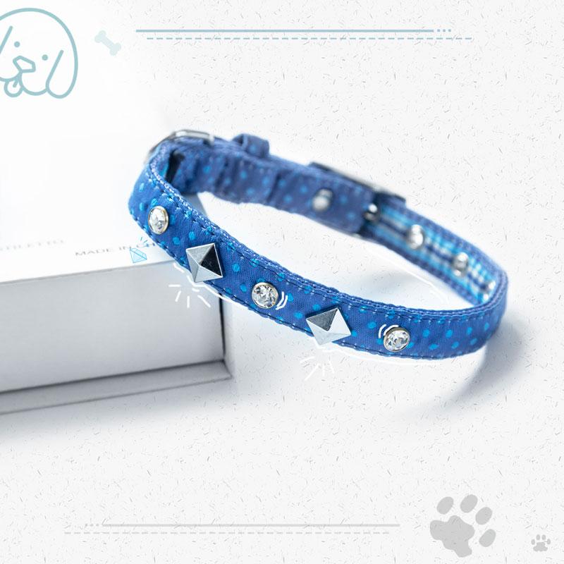 Nylon Sapphire Dog Collar With Leash